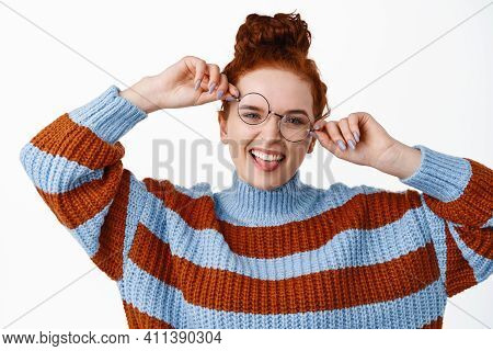 Funny Redhead Woman Playing With Glasses And Showing Tongue, Smiling Carefree, Trying New Eyewear, S