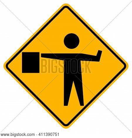 Flaggers In Road Ahead Warning Traffic Symbol Sign Isolate On White Background,vector Illustration