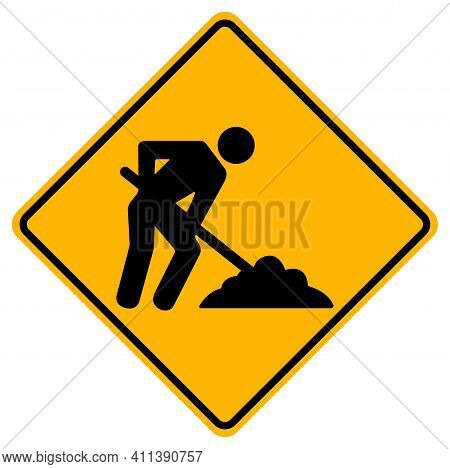Men Work Road,under Construction Traffic Road Symbol Sign Isolate On White Background,vector Illustr
