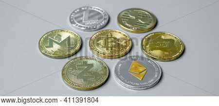 Golden And Silver Cryptocurrency, Bitcoin, Ethereum, Litecoin, Dash, Monero, Zcach And Ripple Coins.