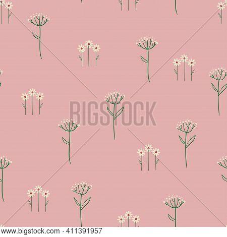 Tender Floral Seamless Pattern. Simple Rustic Wildflowers Wallpaper Or Background.