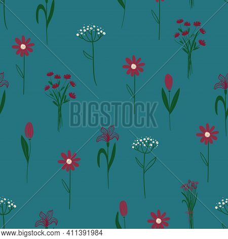 Floral Seamless Pattern. Simple Rustic Wildflowers Wallpaper On A Deep Blue Green Background.