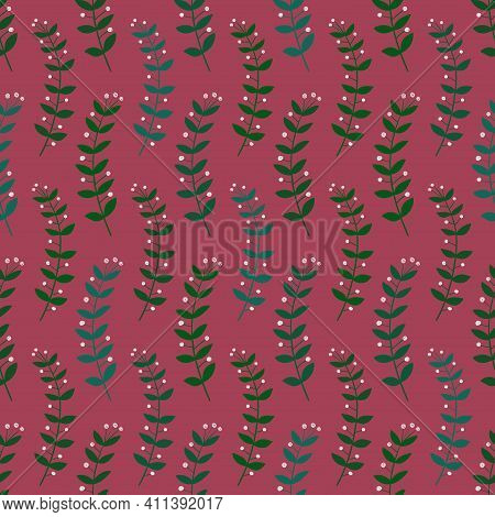Floral Seamless Pattern. Simple Rustic Wildflowers Wallpaper Or Background.