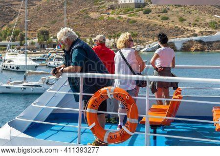 Ferry On Board, Cyclades Archipelago, Greece - 26 September 2020: Passengers On Board The Ferry Wear