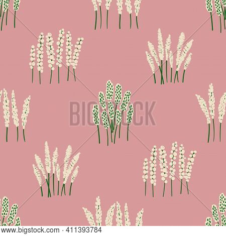 Cute Floral Seamless Pattern. Rustic Wildflowers Wallpaper On A Pink Background.