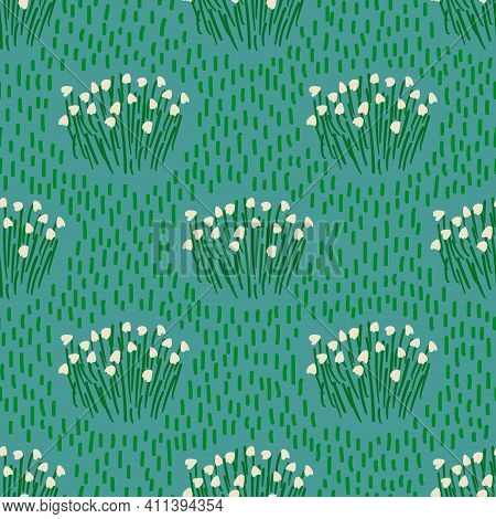 Cute Floral Seamless Pattern. Rustic Wallpaper With Lily Of The Valley Flowers On A Pink Background.