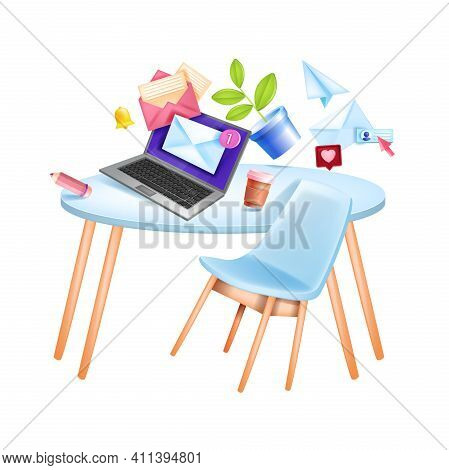 Vector Email Digital Business Marketing Web Social Media Illustration, Office Workplace, Table, Lapt