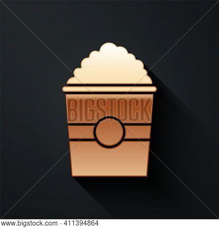 Gold Popcorn In Cardboard Box Icon Isolated On Black Background. Popcorn Bucket Box. Long Shadow Sty