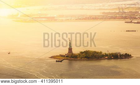 An image of a moody view to liberty island