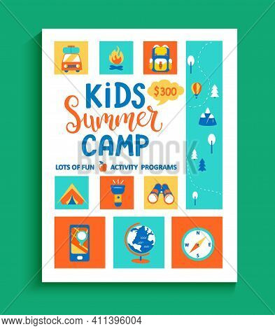Banner For The Kids Summer Camp, Concept With Handdrawn Lettering And Camping And Travelling Equipme