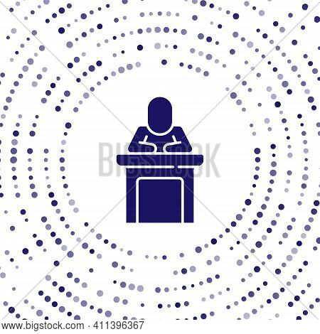 Blue Speaker Icon Isolated On White Background. Orator Speaking From Tribune. Public Speech. Person