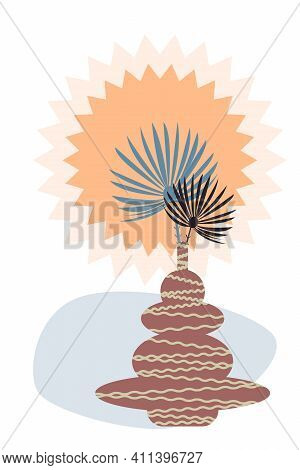 Palm Branch Pattern Background. Summer Travel And Minimalist Plant Art For Design Nursery, T Shirt P