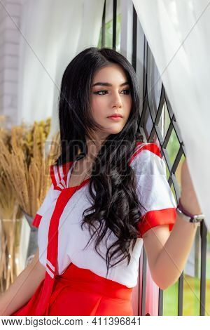 Young Beauty Woman Look Through Window She Waiting Someone Attractive Beautiful Girl Stay Alone At H