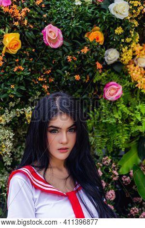 Portrait Beauty Young Asian Woman  Beautiful Girl Has Beautiful Face, Long Hair Charming Lady Stand