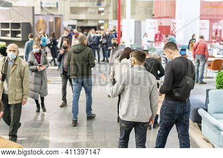 Kiev, Ukraine March 5 2021. Furniture Exhibition During A Pandemic. International Furnishing Accesso
