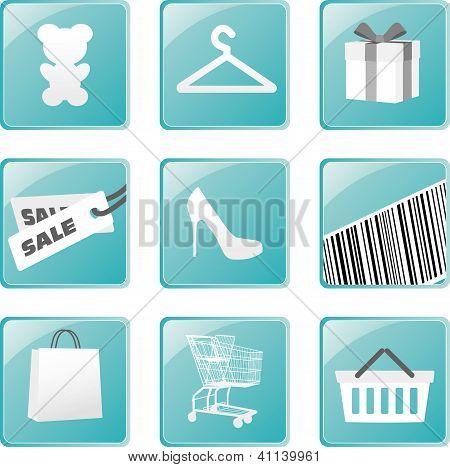 Shopping icons set. Vector design