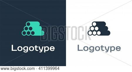 Logotype Wooden Logs Icon Isolated On White Background. Stack Of Firewood. Logo Design Template Elem