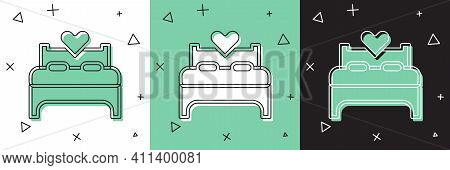 Set Bedroom Icon Isolated On White And Green, Black Background. Wedding, Love, Marriage Symbol. Bedr
