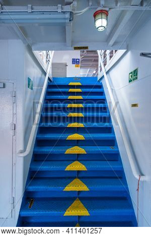 Ferry On Board, Cyclades Archipelago, Greece - 26 September 2020: Blue Stairs Between The Ferry Deck