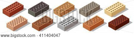 Isometric Bricks Isolated. Set Of Colorful 3d Bricks For Construction And Building. Objects With Sha