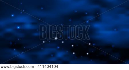 Night Blue Starry Sky With Big Dipper Star Constellation, Glowing Stars And Clouds. Galaxy Space Bac
