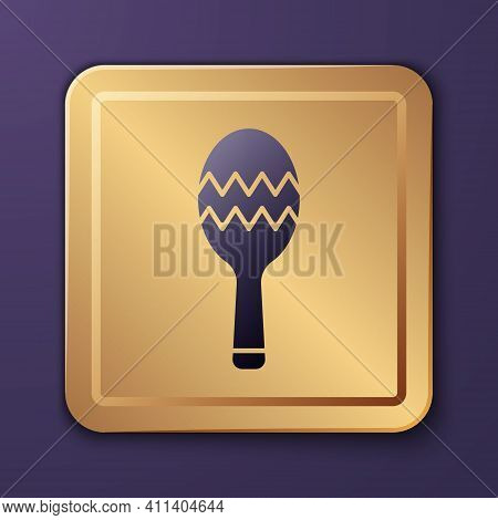 Purple Maracas Icon Isolated On Purple Background. Music Maracas Instrument Mexico. Gold Square Butt