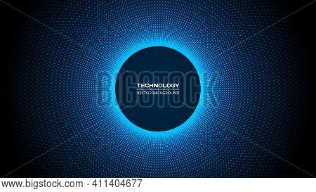 Artificial Intelligence Tech Background. Dark Blue Digital Technology, Big Data And Deep Learning Co