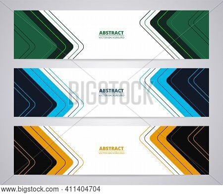 Wide Modern Web Business Vector Banners Set Of Three Templates. Three Color Abstract Web Banner Desi