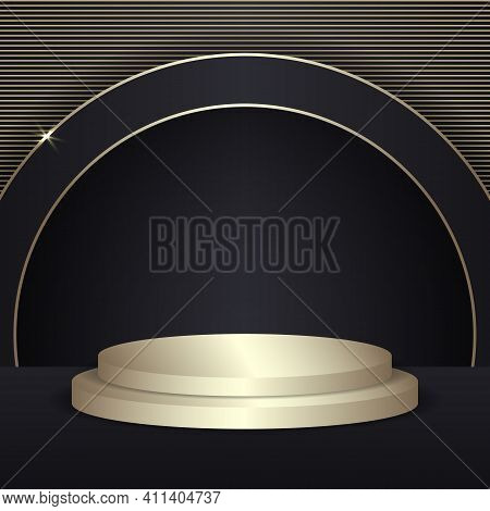Abstract 3d Round Scene Display For Product.golden Podium In Black Background With Black And Gold Ci