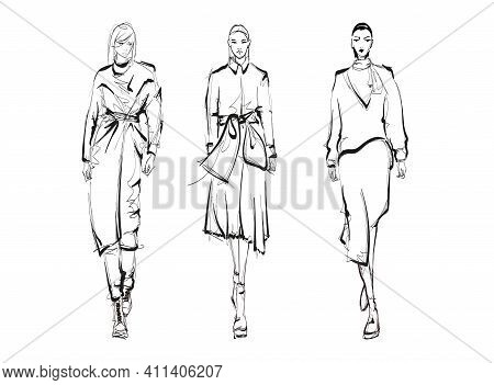 Beautiful Young Women In Modern Style.. Hand Drawn Stylish Woman Portrait. Fashion Lady. Autumn Outf