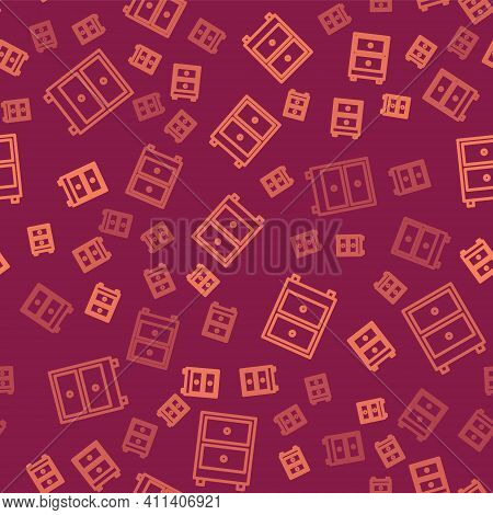 Brown Line Drawer With Documents Icon Isolated Seamless Pattern On Red Background. Archive Papers Dr