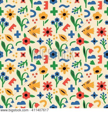 Spring Modern Seamless Pattern With Bird, Flower, Plant, Geometric Shapes. Hand Drawn Scandinavian V