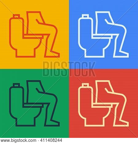 Pop Art Line Men Sitting On The Toilet And Constipation Are Experiencing Severe Abdominal Pain Icon
