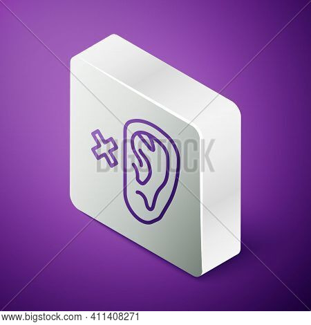 Isometric Line Deafness Icon Isolated On Purple Background. Deaf Symbol. Hearing Impairment. Silver
