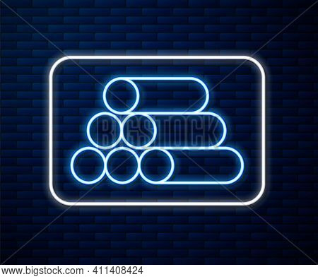 Glowing Neon Line Wooden Logs Icon Isolated On Brick Wall Background. Stack Of Firewood. Vector