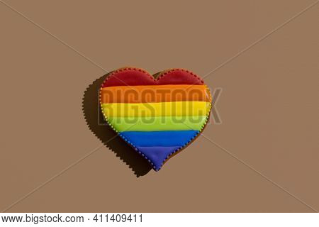 Lgbtqia Pride. Festive Bakery. Food Decor. Conceptual Art. Bisexual Love Symbol. Heart Gingerbread C