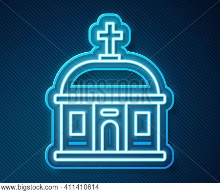 Glowing Neon Line Santorini Building Icon Isolated On Blue Background. Traditional Greek White House