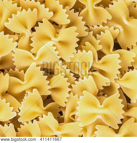 Traditional Italian Farfalle Pasta. Famous Variety Of Type And Shape Of Italian Pasta. Dry Pasta Bow