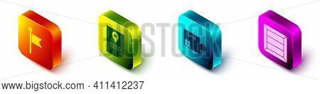 Set Isometric Location Marker, Document Tracking Marker System, Cardboard Box With Traffic Symbol An