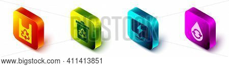 Set Isometric Plastic Bag With Recycle, Recycle Bin With Recycle, Lightning Bolt And Recycle Clean A