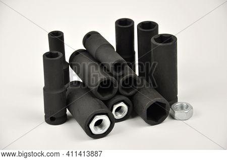 Set Of Hexagonal Socket. Metal Wrench Sockets