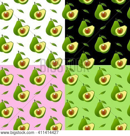 Vector Seamless Background With Avocado Fruit Slices On A Different Background. Texture For Eco And
