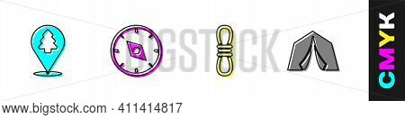 Set Location Of The Forest, Compass, Climber Rope And Tourist Tent Icon. Vector