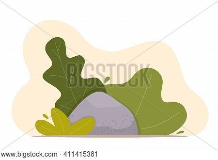 Landscape Design Composition With Bushes And Stone. Cute Floral Composition For Greeting Card, Banne