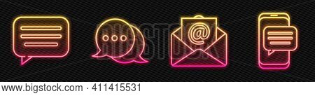 Set Line Mail And E-mail, Speech Bubble Chat, Speech Bubble Chat And Chat Messages Notification On P