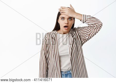 Shocked Woman Forgot Or Remember, Gasping Startled And Slap Forehead, Striked With Revelation, Under
