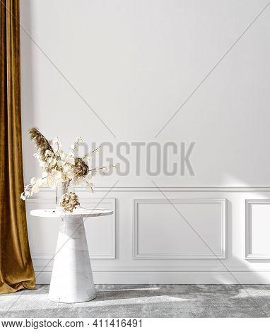 Minimalist Modern Living Room Interior Background, Wall Mockup, 3d Illustration