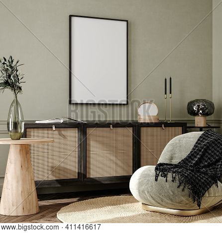 Mock Up Frame In Home Interior Background, Cozy Room With Natural Wooden Furniture, Scandi-boho Styl