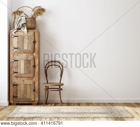 Home Interior Background, Cozy Room In Farmhouse Style, 3d Illustration