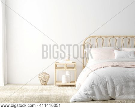 Coastal Boho Style Bedroom Interior Background, Wall Mockup, 3d Illustration